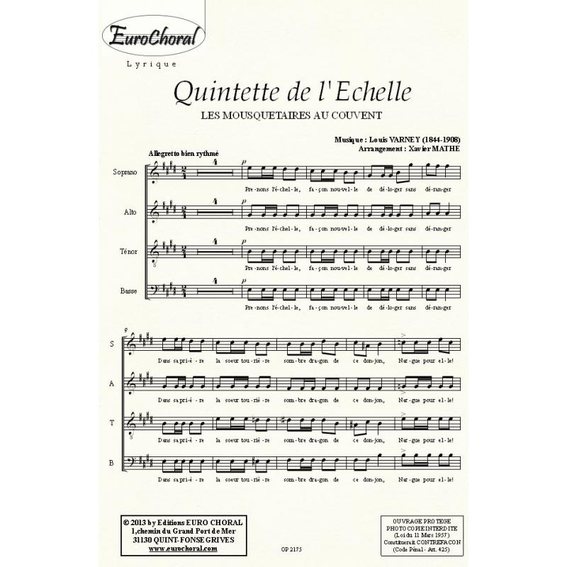 QUINTETTE DE L\'ECHELLE (Les mousquetaires au couvent) (Choeur)