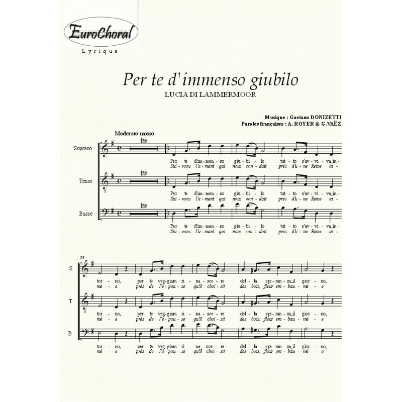 PER TE D\'IMMENSO GIUBILO (Lucia di Lammermoor) (Choeur)