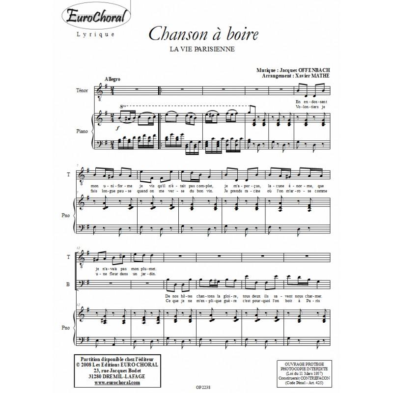 CHANSON A BOIRE (La vie Parisienne)
